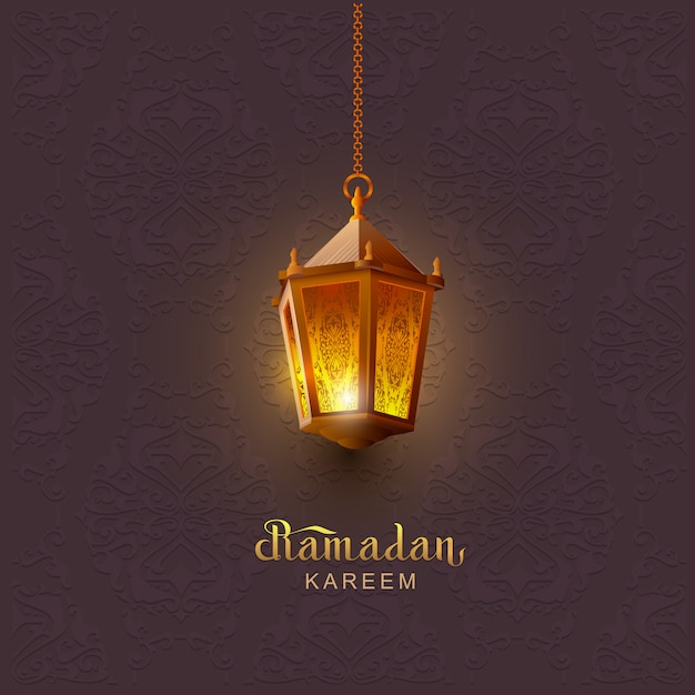 Ramadan kareem lettering text template greeting card. lamp on background of an oriental ornament Premium Vector