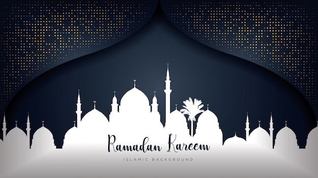 Ramadan kareem luxury background. Premium Vector