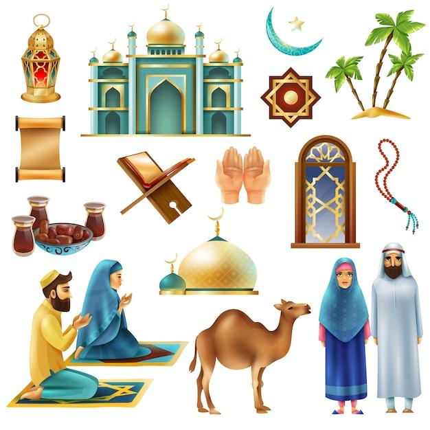 Ramadan kareem mubarak symbols icons set Free Vector