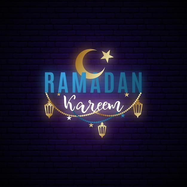 Ramadan kareem neon glowing banner. Premium Vector
