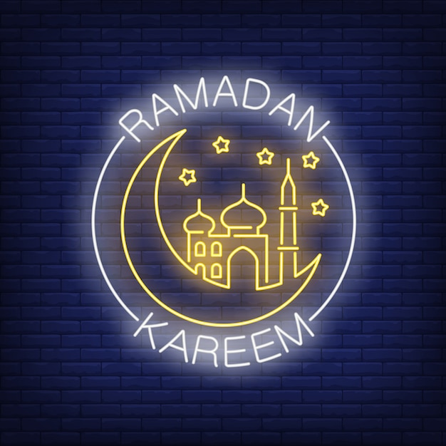 Ramadan kareem neon text with crescent moon and mosque Free Vector
