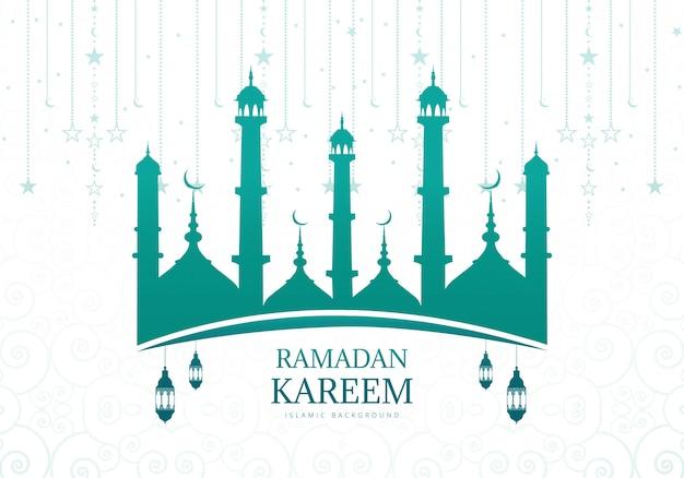 Рамадан карим или ид мубарак фон открытки Бесплатные векторы