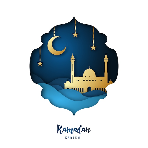 Ramadan kareem paper art illustration. Premium Vector