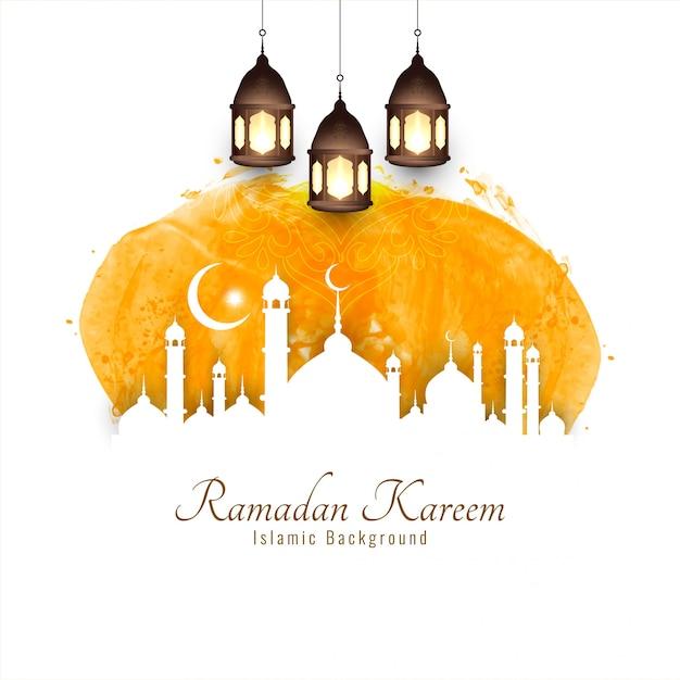 Ramadan kareem, religious islamic silhouettes Free Vector