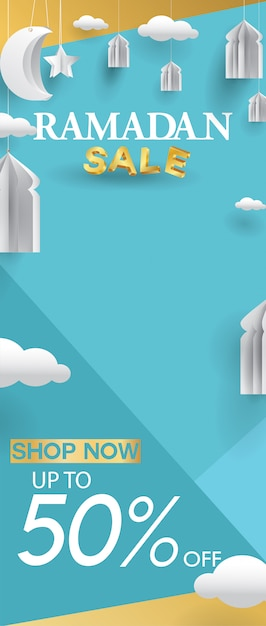 Ramadan kareem roll-up sale template Premium Vector