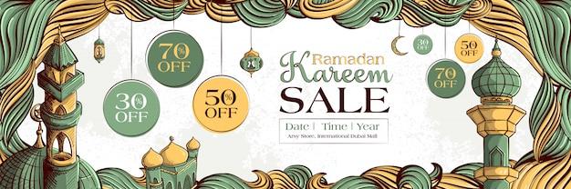 Рамадан карим продажа баннер с рисованной исламской иллюстрации орнамент на белом фоне гранж. Бесплатные векторы