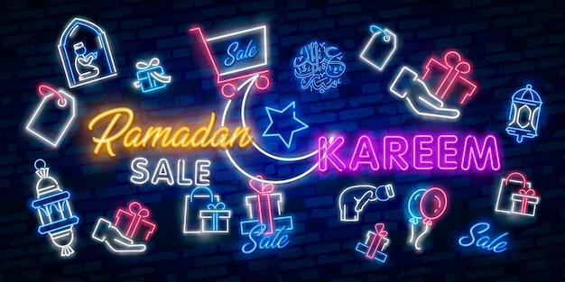 Ramadan kareem sale offer neon banners collection Premium Vector