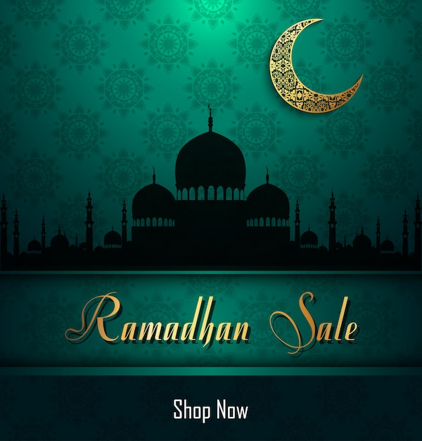 Ramadan kareem sale with mosque Premium Vector