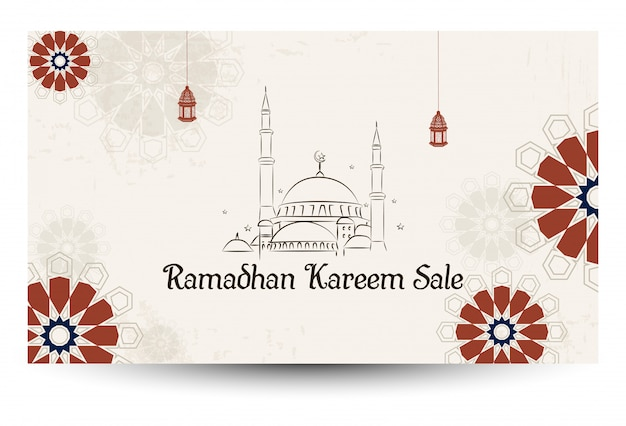 Ramadan kareem sale with mosque Premium Vector