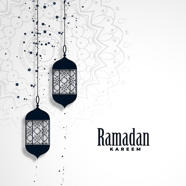 Ramadan kareem season background with hanging lamps Free Vector