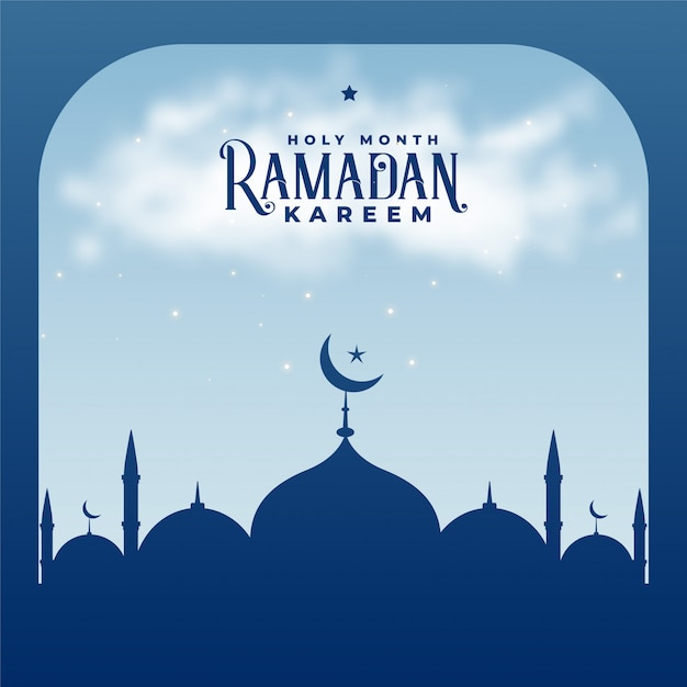 Ramadan kareem season islamic mosque background Free Vector