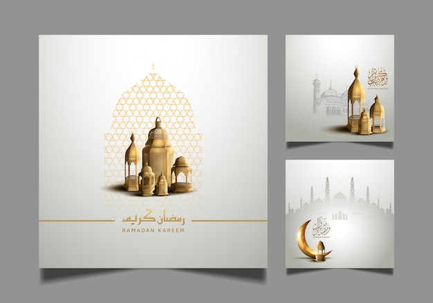 Ramadan kareem set designs for holy ramadan celebration Premium Vector