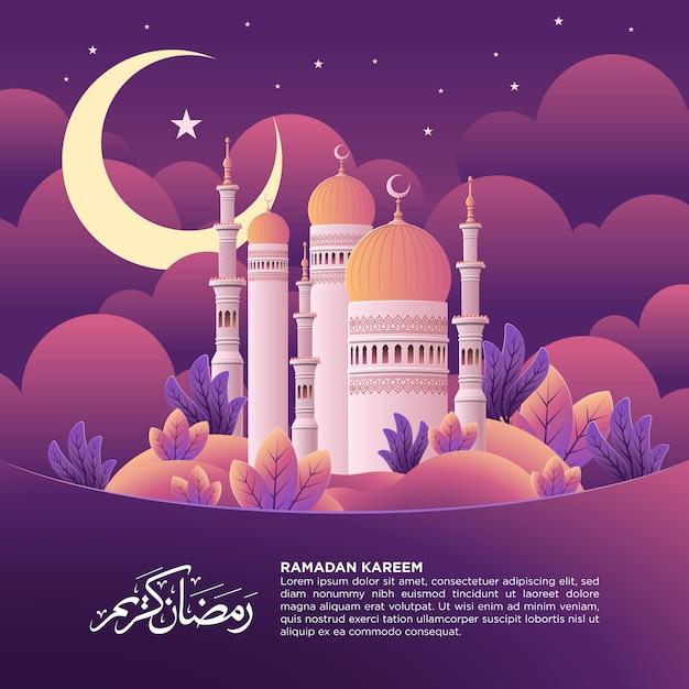 Ramadan kareem square post with mosque illustration Premium Vector