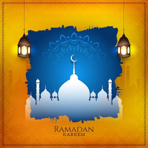 Ramadan kareem stylish islamic background Free Vector