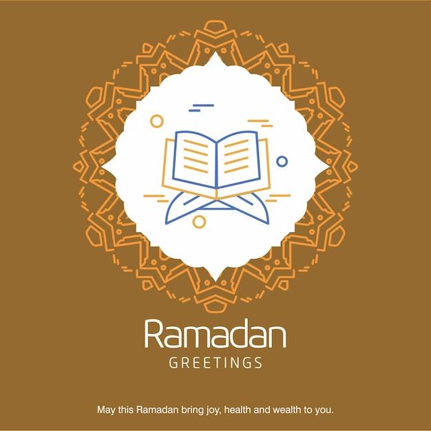 Ramadan kareem vector greeting card background Free Vector