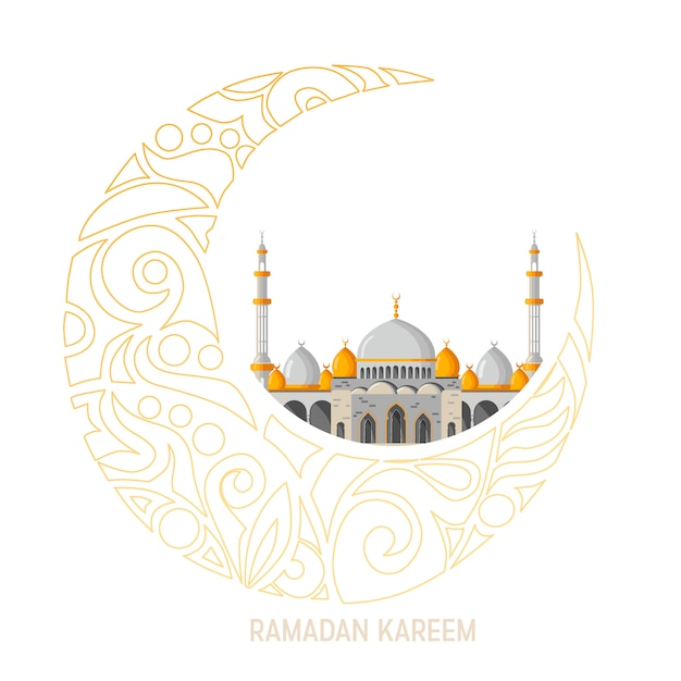 Ramadan kareem vector greeting card layout with mosque, minarets, arabic shining lamps, and ornamental decor. Premium Vector
