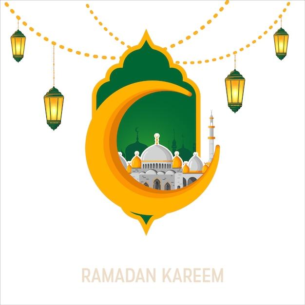 Ramadan kareem vector greeting card layout with mosque, minarets, arabic shining lamps, and ornamental decor. Premium Vector