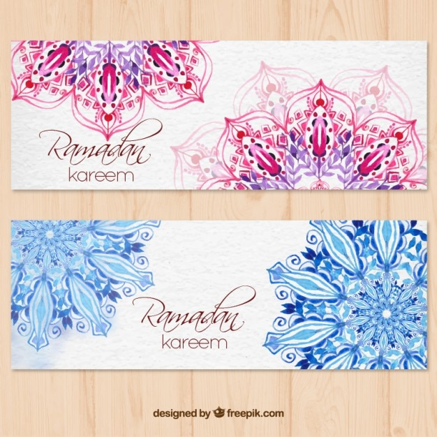 Ramadan kareem watercolor banners with mandala Free Vector