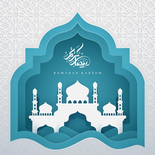 Ramadan kareem with arabic calligraphy and mosque. Premium Vector