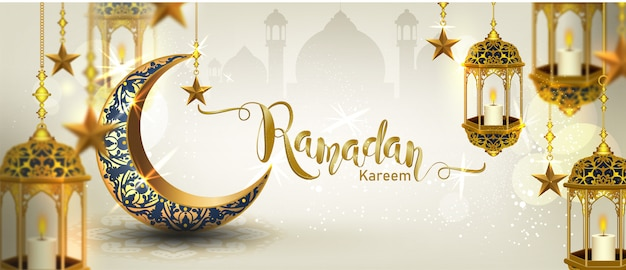 Ramadan kareem with crescent moon gold luxurious crescent,template islamic ornate  element for  ,  3d style Premium Vector