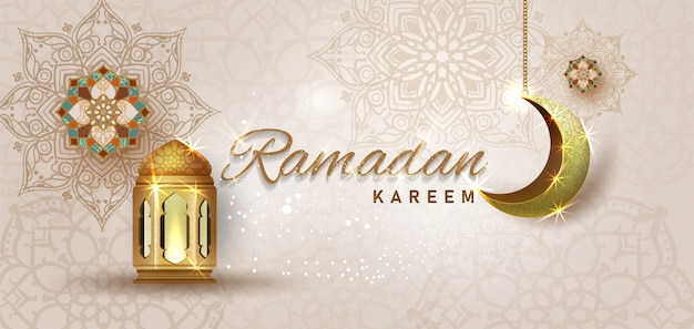 Ramadan kareem with golden ornate crescent and islamic line mosque Premium Vector