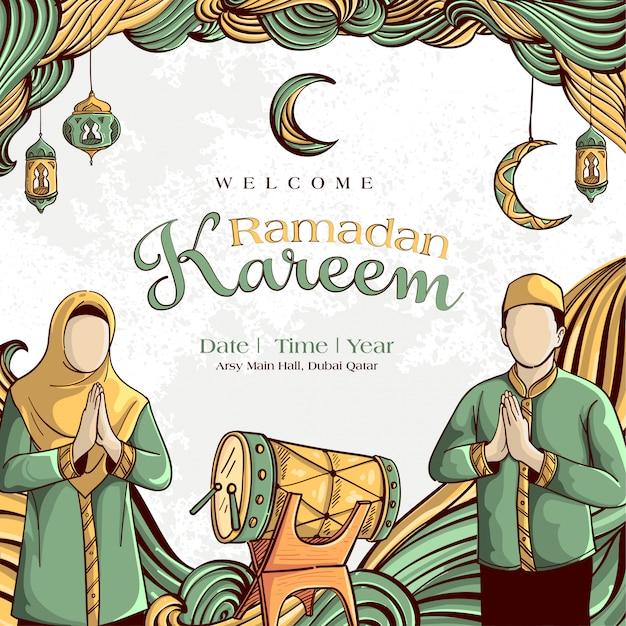 手でラマダンカリーム描画白グランジ背景にイスラムイラスト飾り 無料ベクター