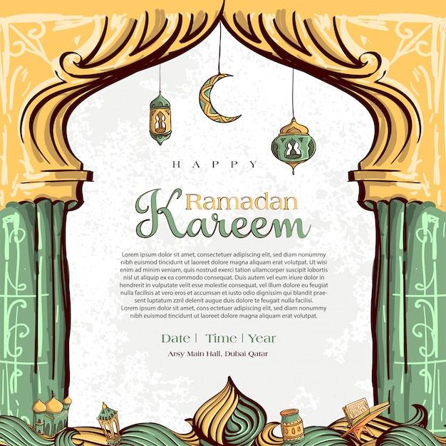Рамадан карим с рисованной исламской иллюстрации орнамент на белом фоне гранж Бесплатные векторы