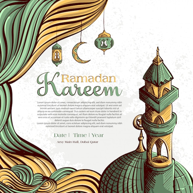 Ramadan kareem with hand drawn islamic illustration ornament on white grunge background Free Vector