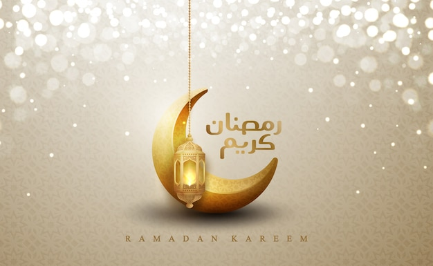 Ramadan kareem with hanging gold lanterns and crescent moon. Premium Vector