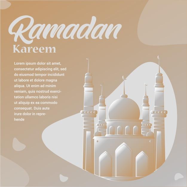 Ramadan kareem with mosque illustration Premium Vector
