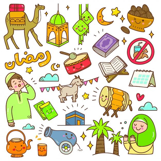 Ramadan kawaii doodle Premium Vector