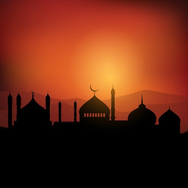 Ramadan landscape background at sunset Vector | Free Download
