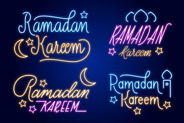 Рамадан надпись коллекция неоновых вывесок Бесплатные векторы