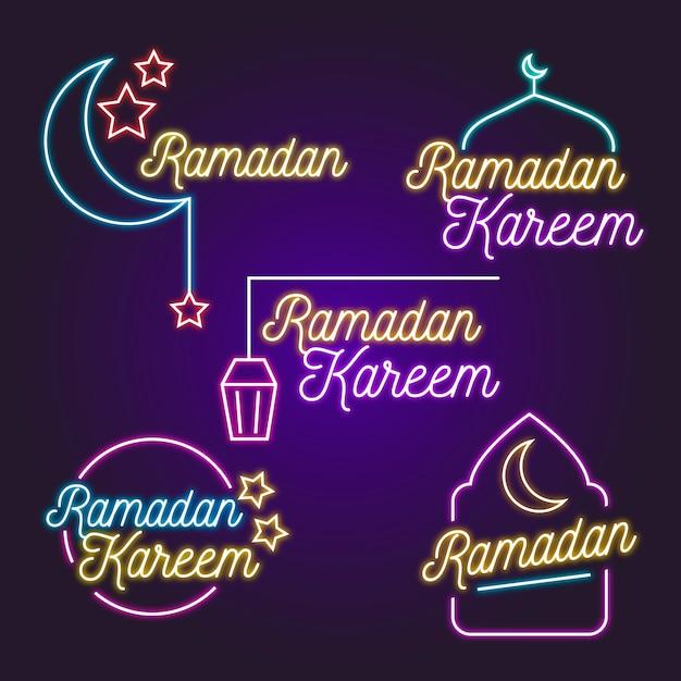 Рамадан надпись неоновая вывеска тема Бесплатные векторы