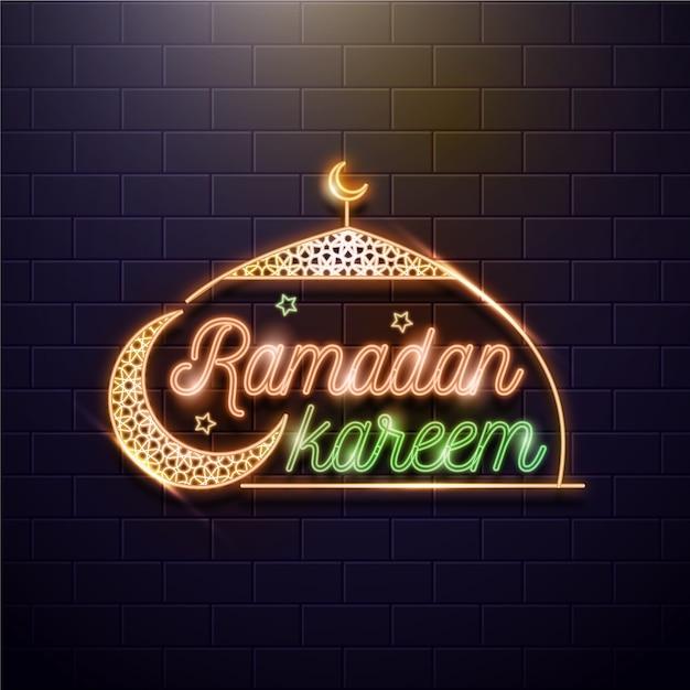 Рамадан надпись неоновая вывеска с луной Бесплатные векторы