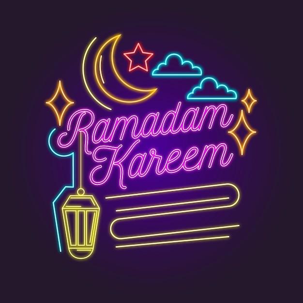 Рамадан надписи неоновая вывеска Бесплатные векторы