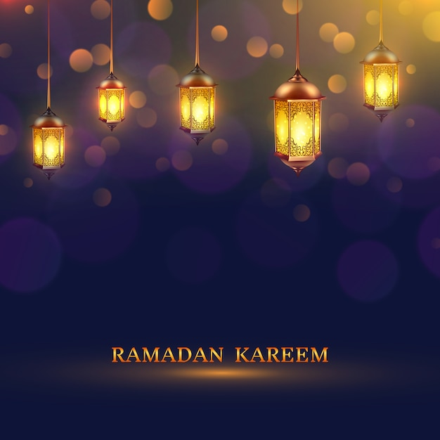 Ramadan lights poster Free Vector