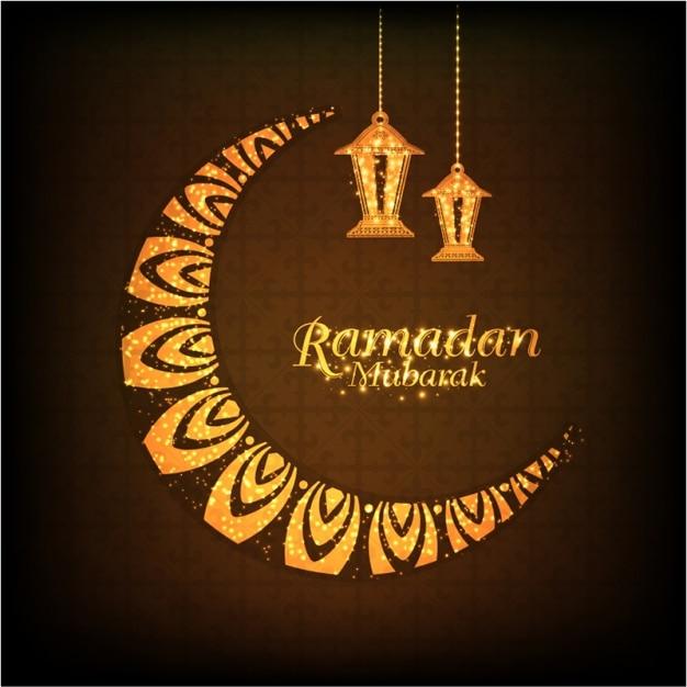 ramadan mubarak background with moon and lanterns vector