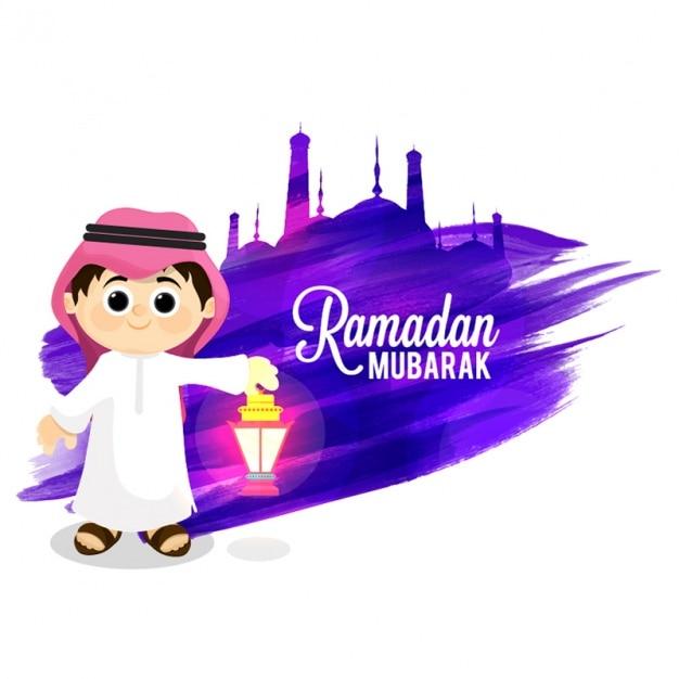 ramadan mubarak background with smiling kid vector
