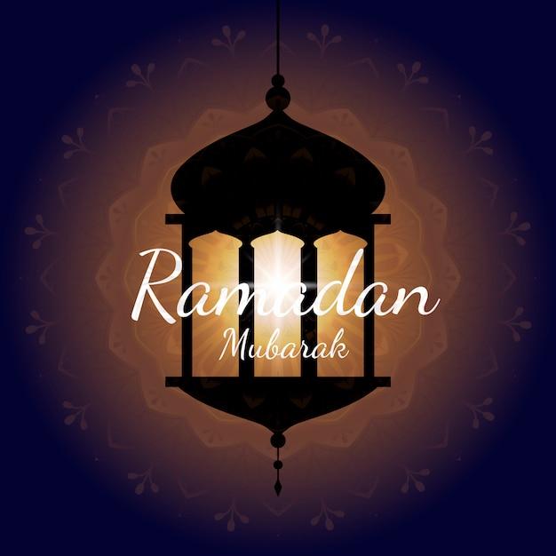 Ramadan mubarak card design vector Free Vector
