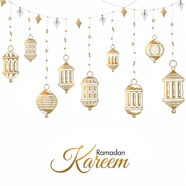 Ramadan mubarak concept. Premium Vector