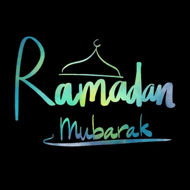 ramadan mubarak watercolor text vector vector free download