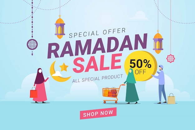 Ramadan sale banner template background Premium Vector