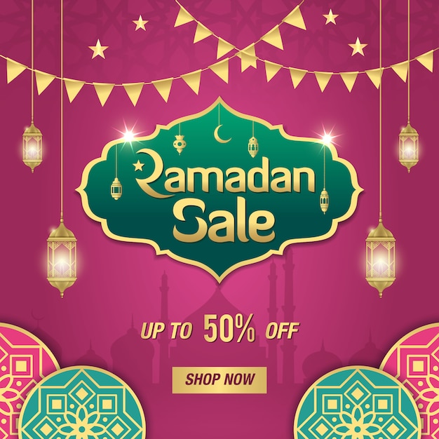 Ramadan sale banner  with golden shiny frame, arabic lanterns and islamic ornament on purple . up to 50% discount offer Premium Vector