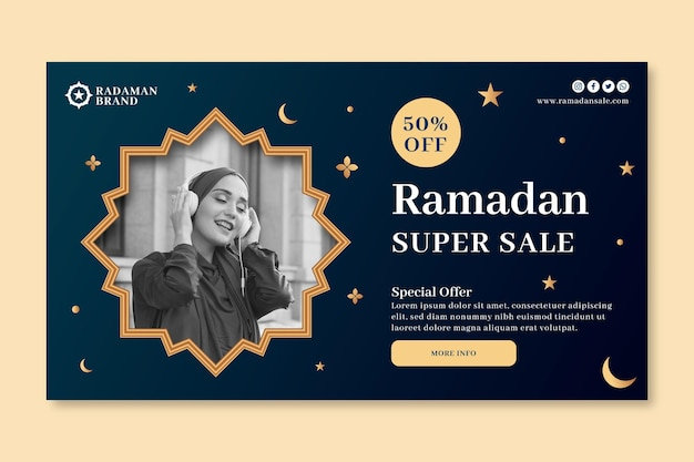 Ramadan sale horizontal banner template Free Vector