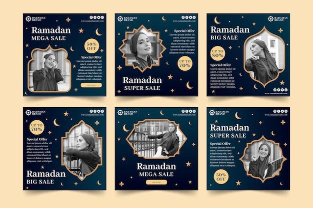 Raccolta di post di instagram di vendita di ramadan Vettore gratuito