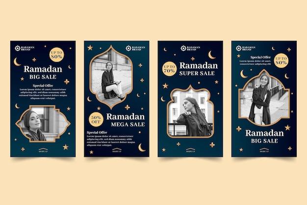 라마단 판매 인스 타 그램 스토리 컬렉션 무료 벡터