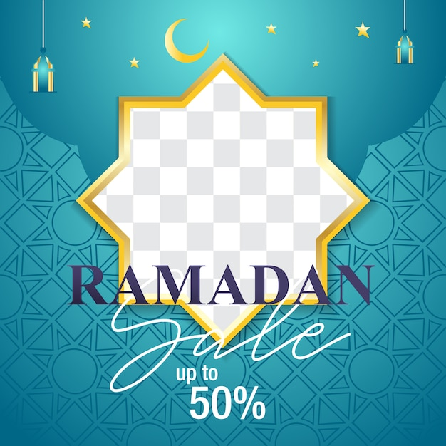 Ramadan sale modern design in turquoise color Premium Vector