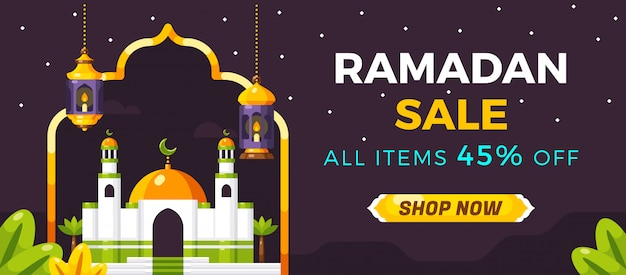 Ramadan sale social media banner template Premium Vector