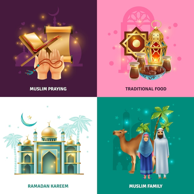 Ramadan traditions concept 4 icons square Free Vector